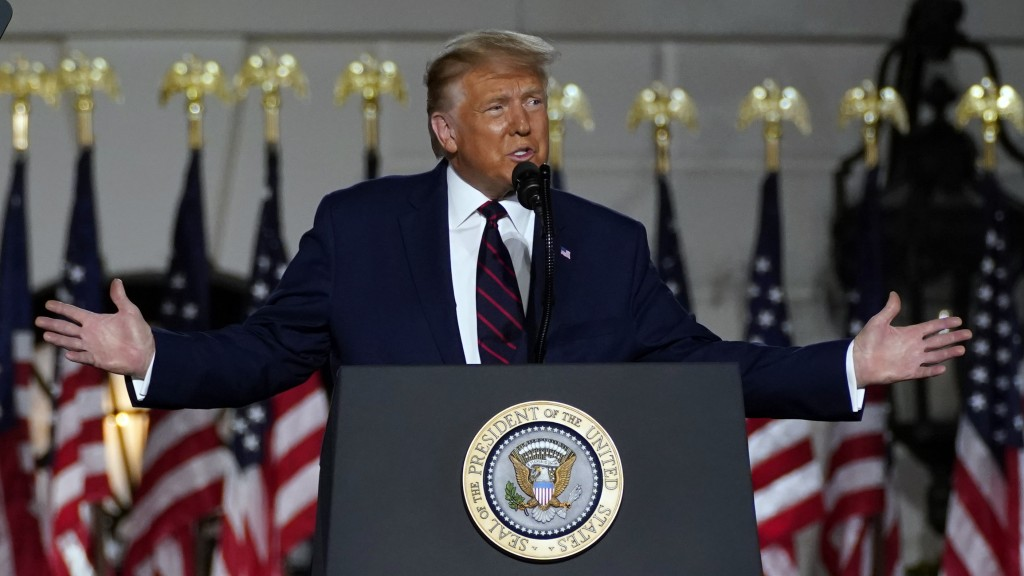 President Donald Trump speaks from the South Lawn of the White House on the fourth day of the Republican National Convention, Thursday, Aug. 27, 2020,...