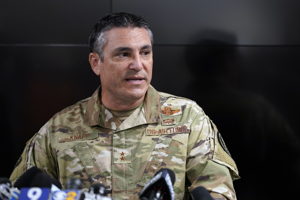 Maj. Gen. Paul Knapp of the Wisconsin National Guard speaks during a news conference Thursday, Aug. 27, 2020, in Kenosha, Wis. The city has suffered f...