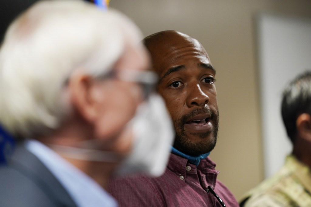 Wisconsin Lt. Gov. Mandela Barnes speaks during a news conference Thursday, Aug. 27, 2020, in Kenosha, Wis. The city has suffered from unrest in the w...