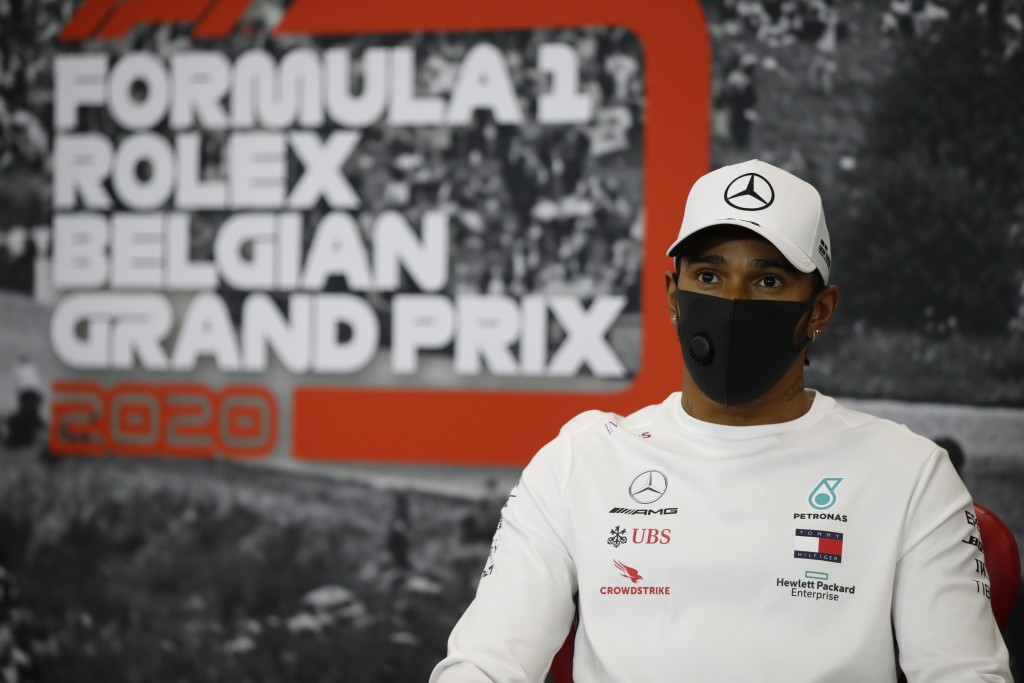 Mercedes driver Lewis Hamilton of Britain participates in a media conference prior to the Formula One Grand Prix at the Spa-Francorchamps racetrack in...