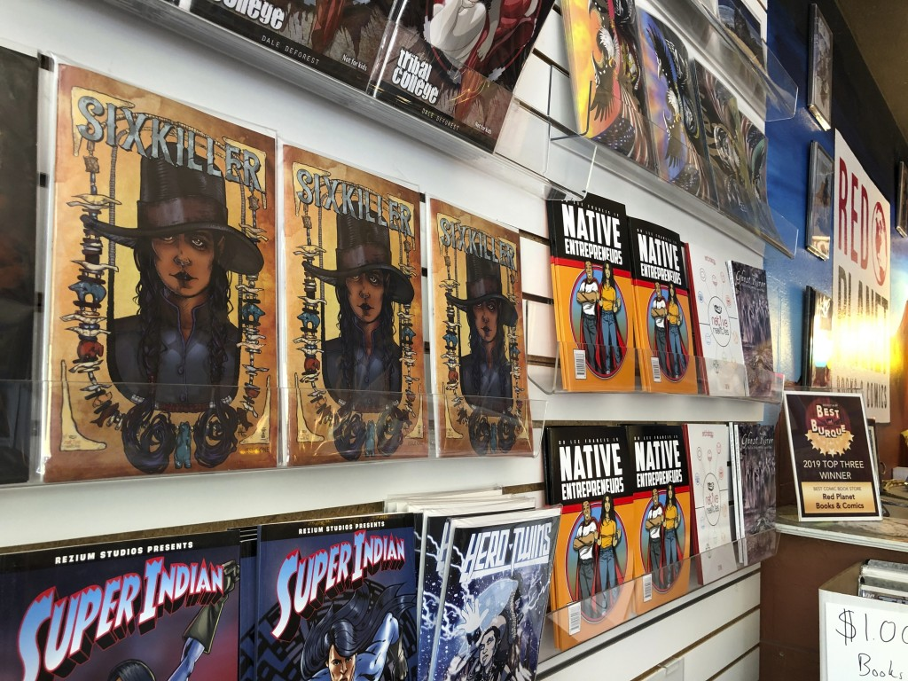 This Aug. 19, 2020, image shows some of the comics for sale at Red Planet Books & Comics in Albuquerque, N.M. Marvel Comics has assembled a gallery of...