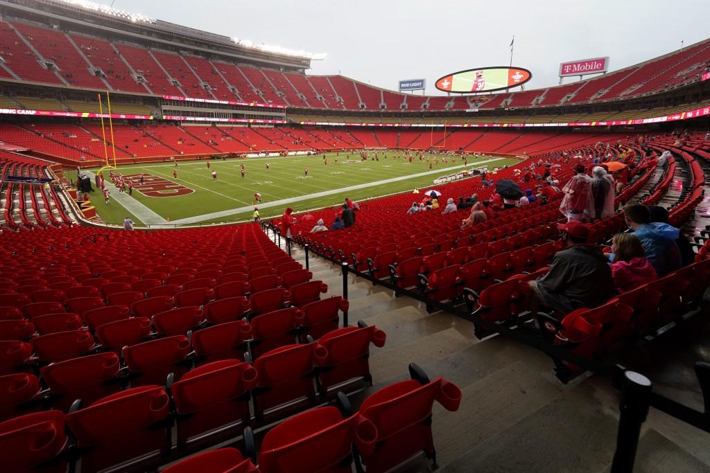 Fans watch the Kansas City Chiefs during NFL football training camp Saturday, Aug. 29, 2020, at Arrowhead Stadium in Kansas City, Mo. The Chiefs opene...