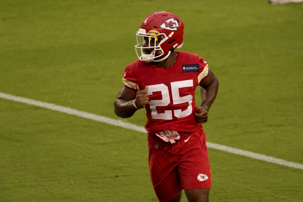 Kansas City Chiefs running back Clyde Edwards-Helaire runs during NFL football training camp Saturday, Aug. 29, 2020, at Arrowhead Stadium in Kansas C...