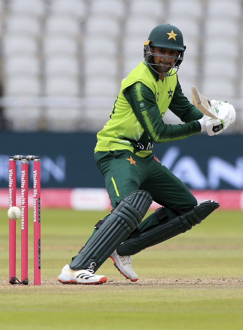 Pakistan's Shoaib Malik bats during the second Twenty20 cricket match between England and Pakistan, at Old Trafford in Manchester, England, Sunday, Au...