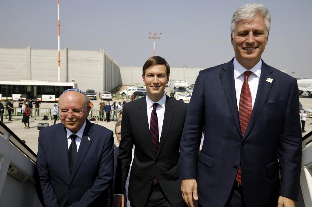 Israeli National Security Advisor Meir Ben-Shabbat, left, U.S. President Donald Trump's senior adviser Jared Kushner, center, and U.S. National Securi...