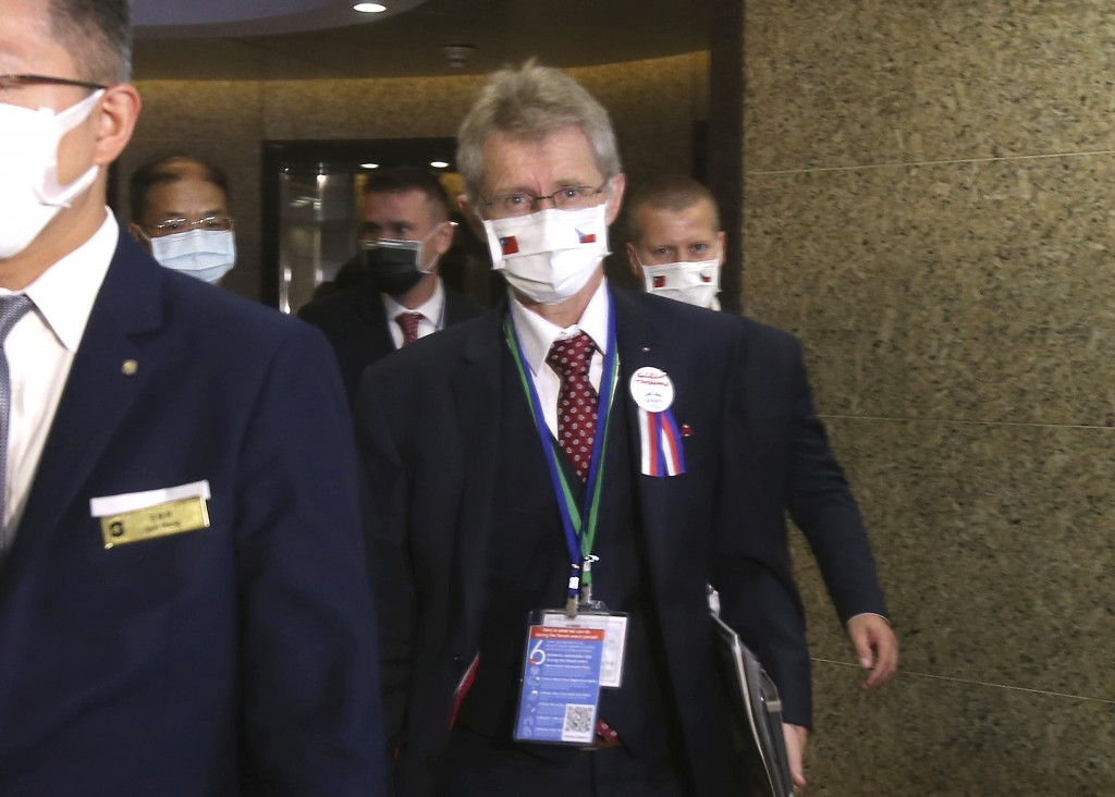 The Czech Senate President Milos Vystrcil walks into the meeting room of Taiwan and Czech Economic, Trade and Investment Forum in Taipei, Taiwan, Mond...
