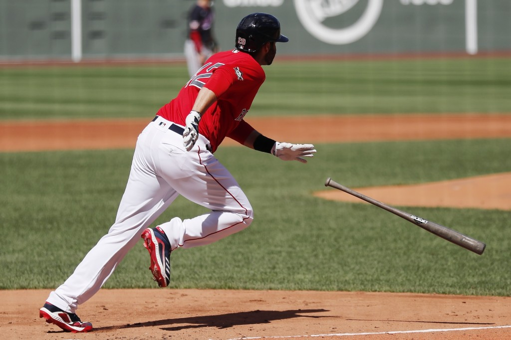 Boston Red Sox's J.D. Martinez runs on his ground-rule double during the second inning of a baseball game against the Washington Nationals, Sunday, Au...