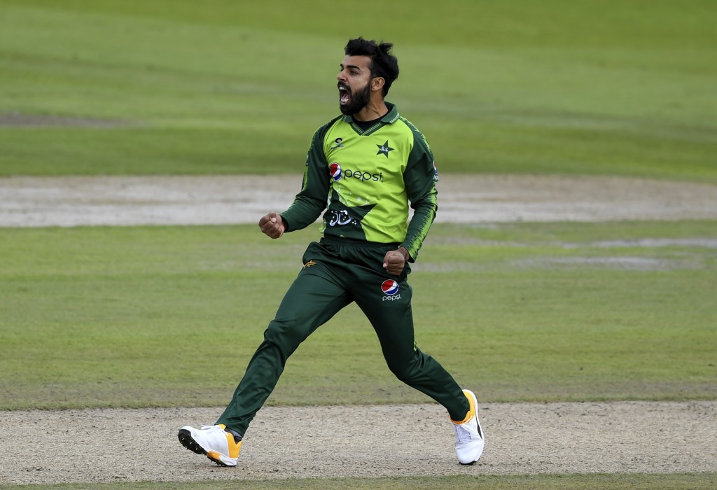 Pakistan's Shadab Khan celebrates the dismissal of England's Tom Banton during the second Twenty20 cricket match between England and Pakistan, at Old ...