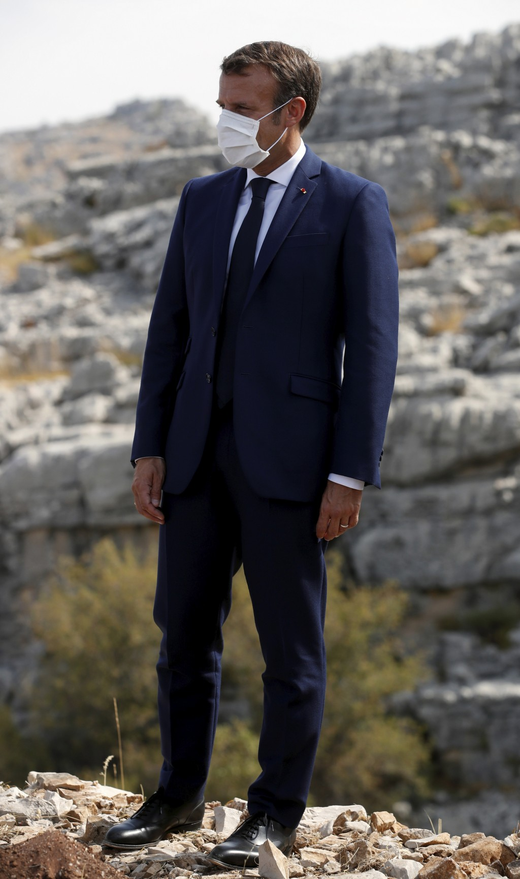 French President Emmanuel Macron is to plant a cedar in Jaj, near Beirut, Tuesday Sept. 1, 2020. French President Emmanuel Macron returned to Lebanon ...