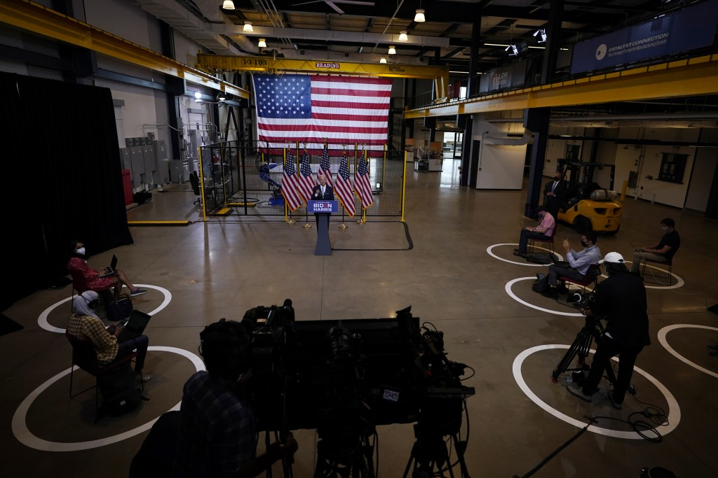 Democratic presidential candidate former Vice President Joe Biden speaks at campaign event at Mill 19 in Pittsburgh, Pa., Monday, Aug. 31, 2020. (AP P...