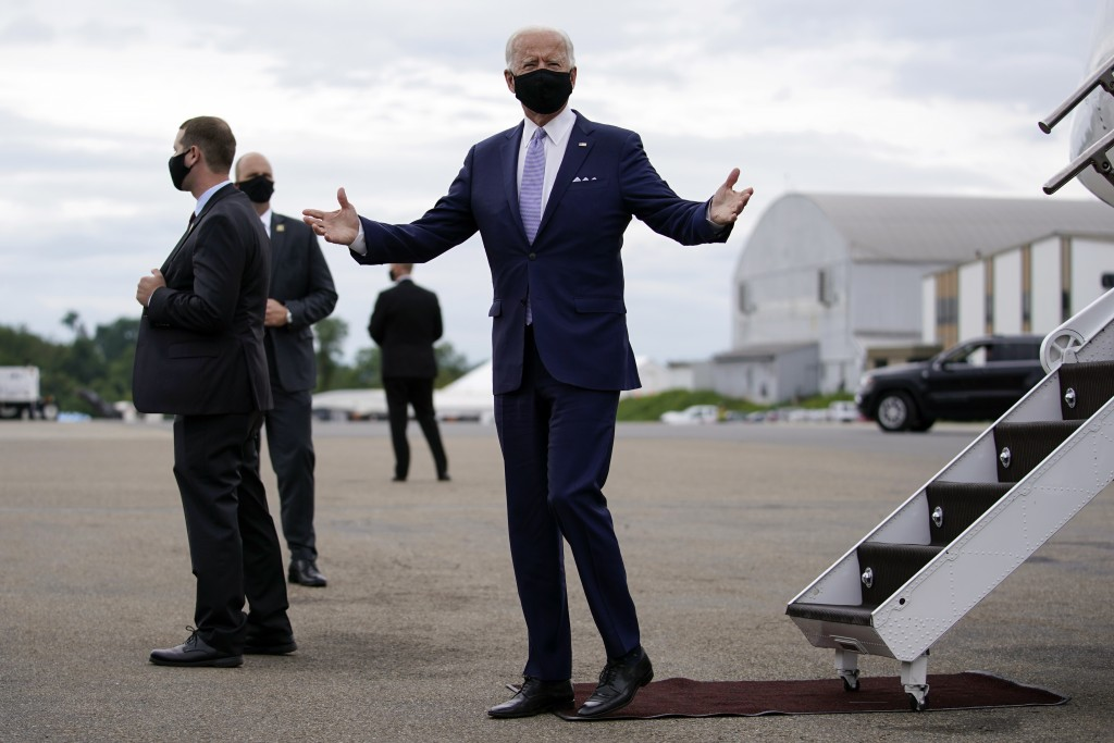 Democratic presidential candidate former Vice President Joe Biden arrives at the Allegheny County Airport in West Mifflin, Pa., en route to speak at a...