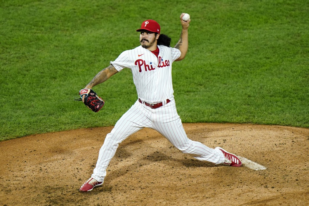 Philadelphia Phillies' JoJo Romero pitches during the seventh inning of a baseball game against the Washington Nationals, Monday, Aug. 31, 2020, in Ph...