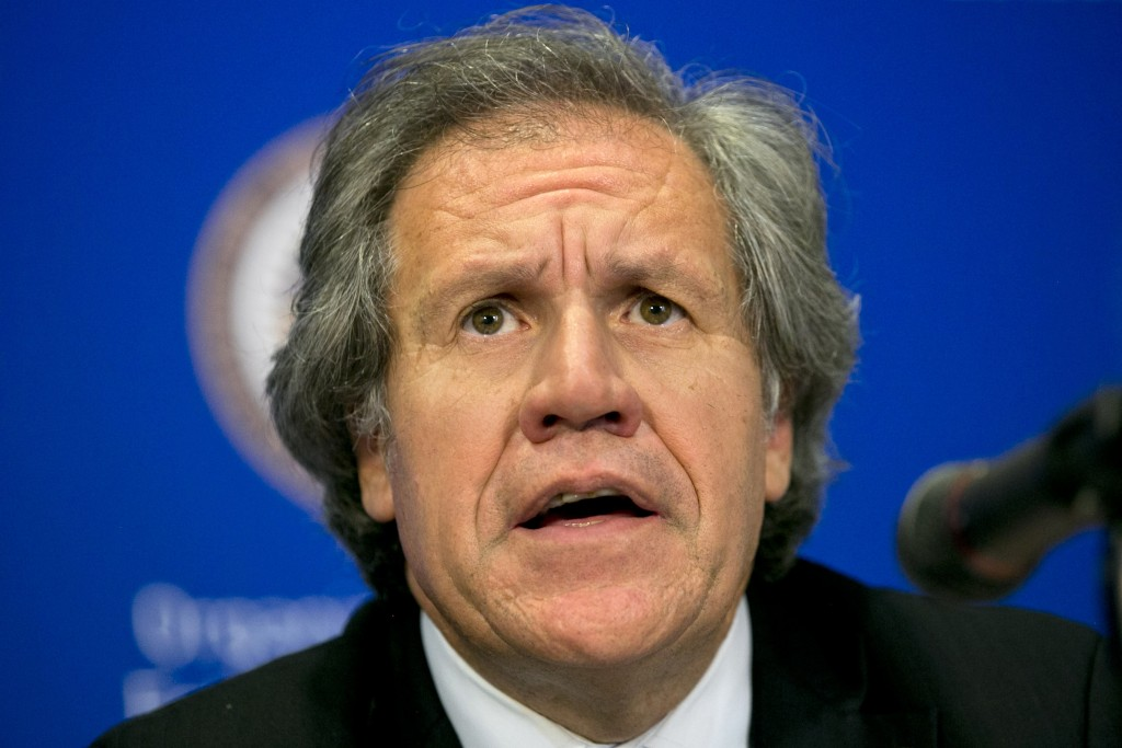 FILE - In this June 16, 2015 file photo, Organization of American States, OAS, Secretary-General Luis Almagro gives a news conference at the 45th OAS ...