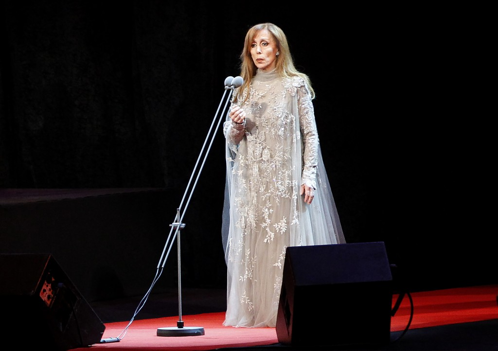 FILE - In this Oct. 7, 2010 file photo, Lebanon's diva Fairouz, one of the Arab world's most popular singers, performs during a concert for her new al...