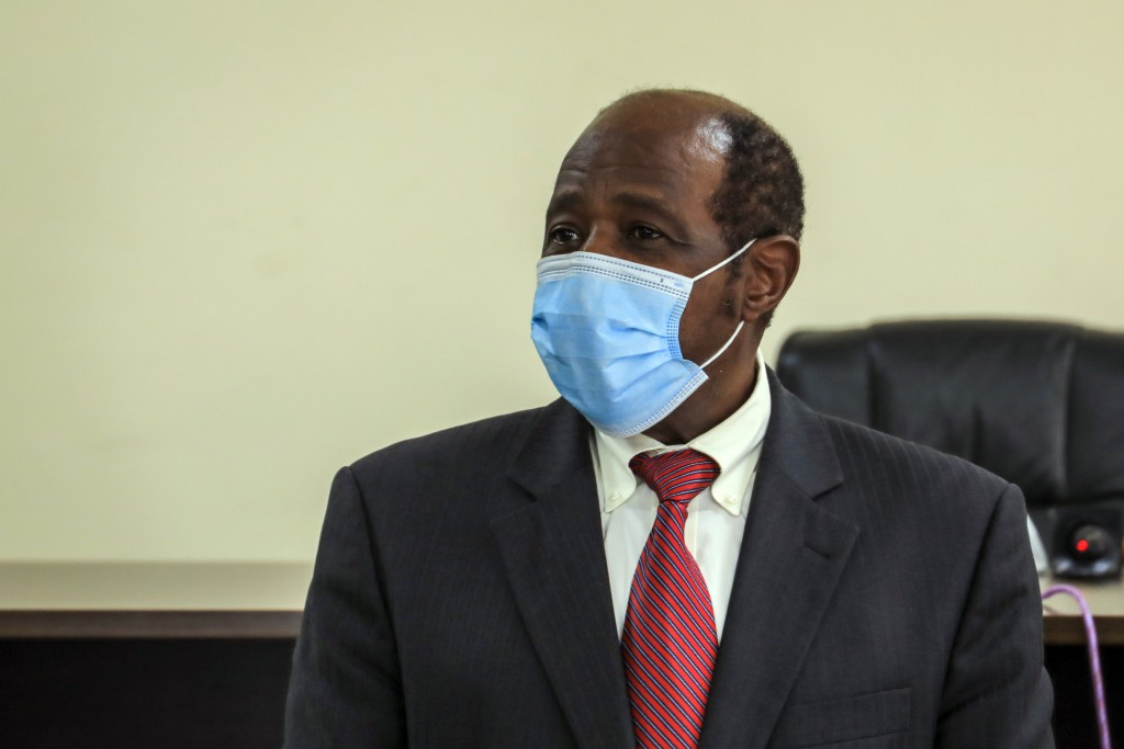 Paul Rusesabagina appears in front of media at the headquarters of the Rwanda Bureau of investigations building in Kigali, Rwanda Monday, Aug. 31, 202...