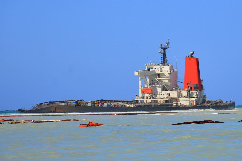 FILE — In this Sunday, Aug. 16 file photo the Japanese MV Wakashio, a bulk carrier ship that recently ran aground off the southeast coast of Mauritius...