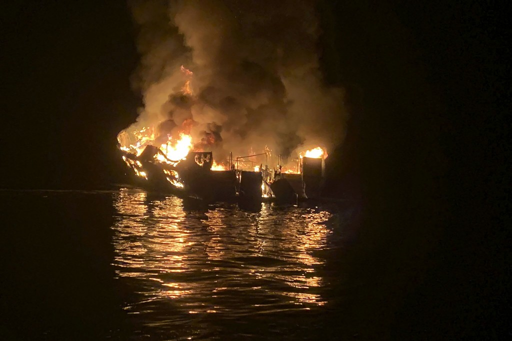 FILE - In this Sept. 2, 2019, file photo provided by the Santa Barbara County Fire Department, the dive boat Conception is engulfed in flames after a ...