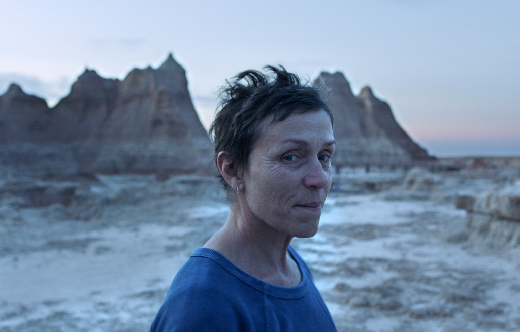 "This image released by Searchlight Pictures shows Frances McDormand in a scene from the film ""Nomadland"" by Chloe Zhao. McDormand stars as a woman liv..."