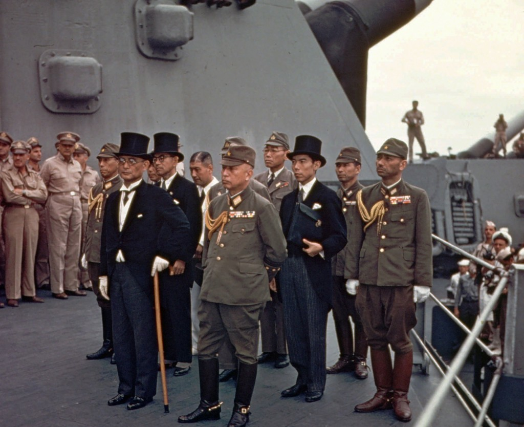 FILE - In this Sept. 2, 1945, file photo, Japanese surrender signatories arrive on board the USS Missouri in Tokyo Bay to participate in surrender cer...
