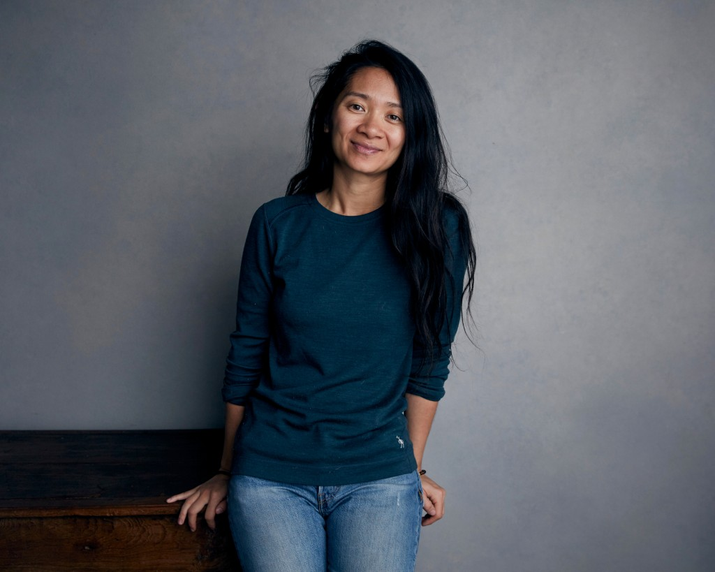 "FILE - Writer-director Chloe Zhao poses for a portrait during the Sundance Film Festival in Park City, Utah on Jan. 22, 2018. Zhao's latest film, ""Nom..."