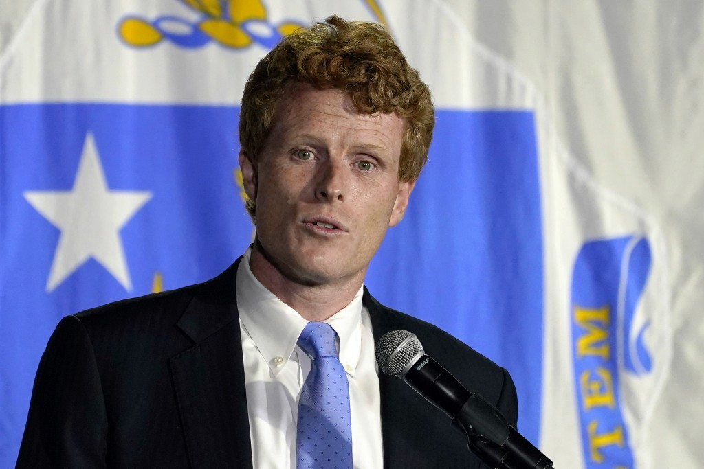 U.S. Rep. Joe Kennedy III speaks outside his campaign headquarters in Watertown, Mass., after conceding defeat to incumbent U.S. Sen. Edward Markey, T...