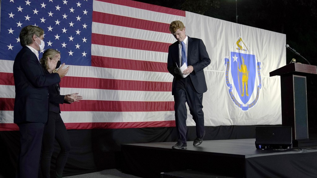 U.S. Rep. Joe Kennedy III leaves the stage after speaking outside his campaign headquarters in Watertown, Mass., after conceding defeat to incumbent U...