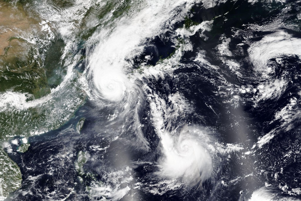 This Wednesday, Sept. 2, 2020, satellite image released by NASA Worldview, Earth Observing System Data and Information System (EOSDIS) shows Typhoon M...