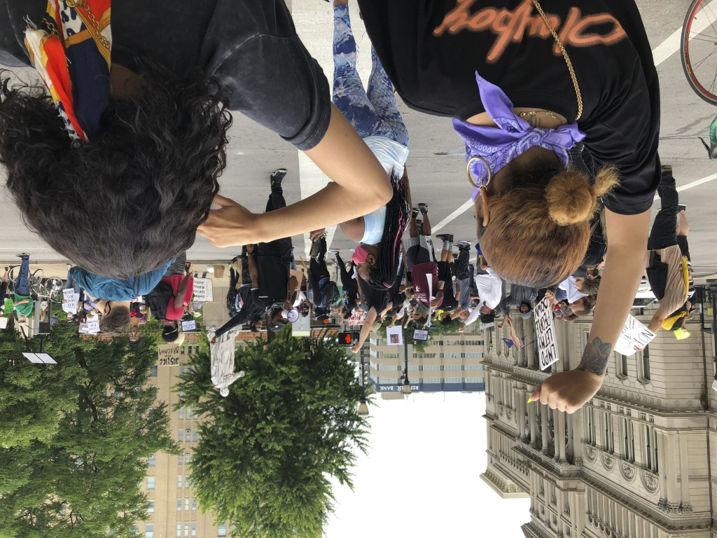 Protesters gather near Jefferson Square park to call for justice in the police shooting of Breonna Taylor on in Louisville, Ky., on May 29, 2020.  Pro...