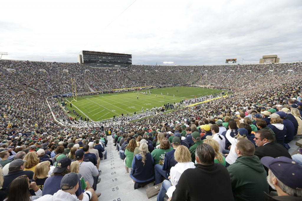 FILE - Notre Dame Stadium is shown during the second half of an NCAA college football game between Notre Dame and Michigan State in South Bend, Ind., ...