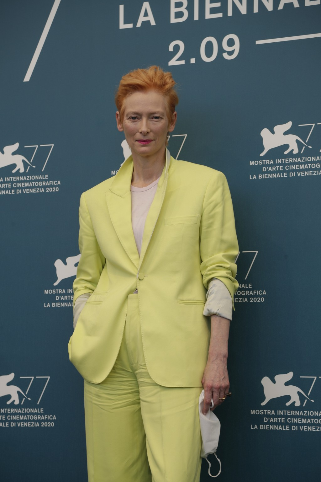 Actress Tilda Swinton poses during the photo call for the movie 'The human voice' during the 77th edition of the Venice Film Festival at the Venice Li...
