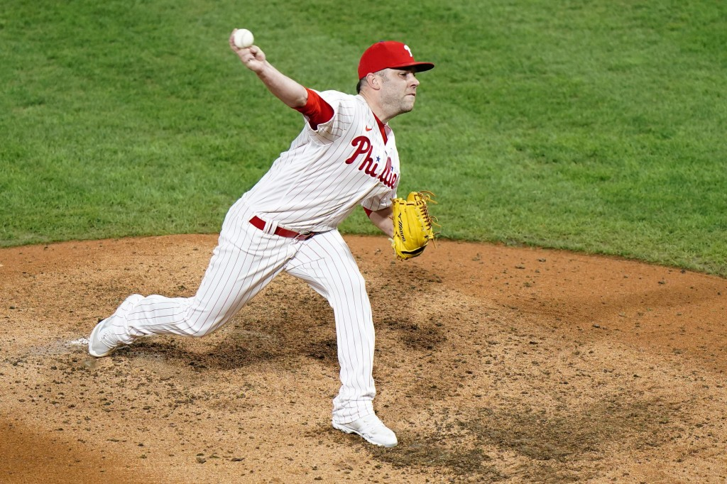 Philadelphia Phillies' David Phelps pitches during the seventh inning of a baseball game against the Washington Nationals, Wednesday, Sept. 2, 2020, i...