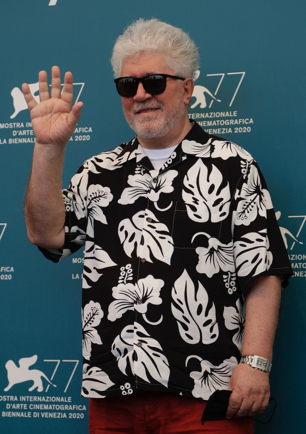 Director Pedro Almodovar poses during the photo call for the movie 'The human voice' during the 77th edition of the Venice Film Festival at the Venice...