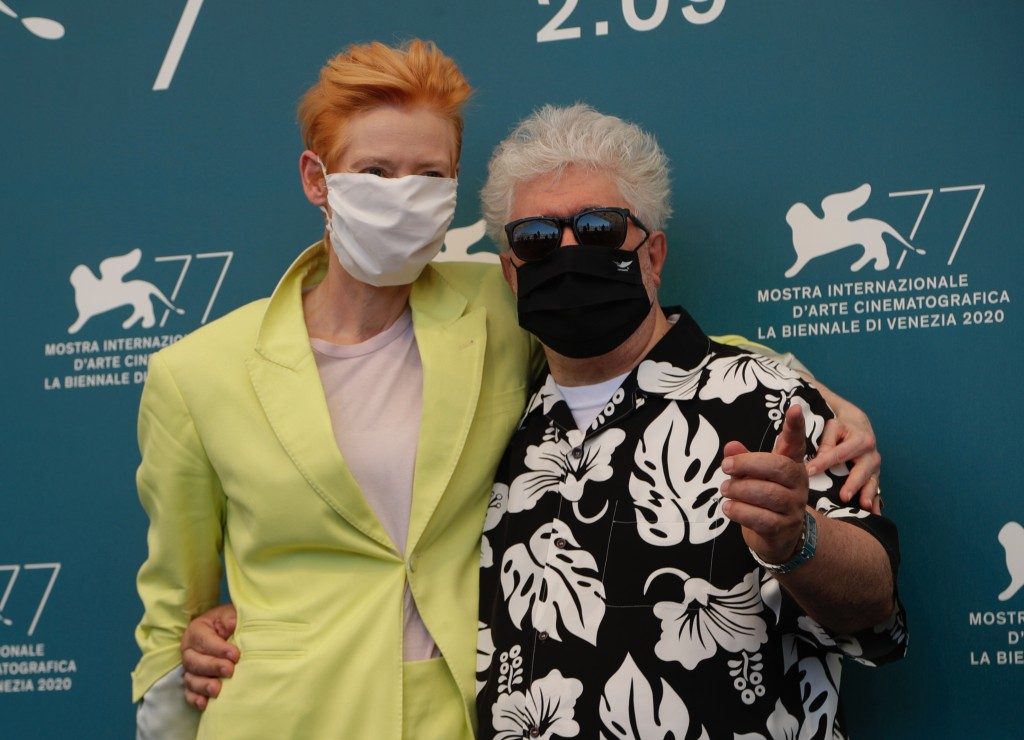 Director Pedro Almodovar and actress Tilda Swinton pose during the photo call for the movie 'The human voice' during the 77th edition of the Venice Fi...