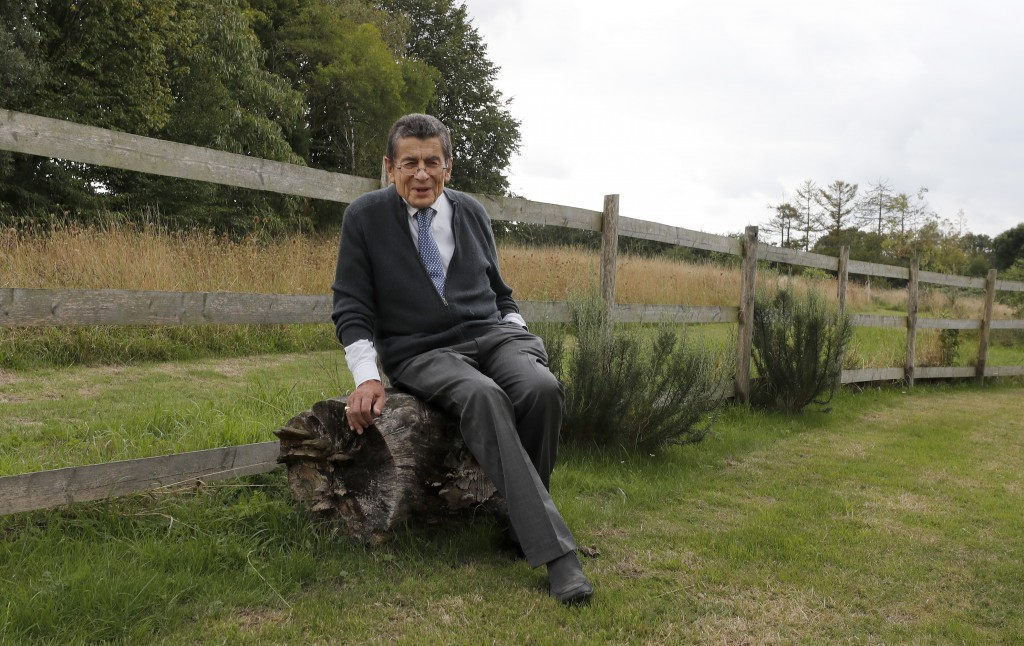 Human rights lawyer Geoffrey Nice takes a rest in his garden at his home in Adisham, England, Wednesday, Sept. 2, 2020.  The prominent British human r...