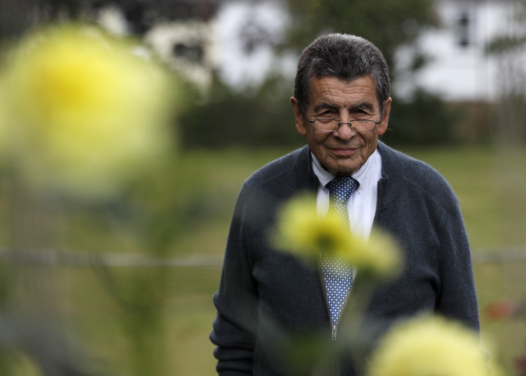 Human rights lawyer Geoffrey Nice walks through his garden at his home in Adisham, England, Wednesday, Sept. 2, 2020. The prominent British human righ...