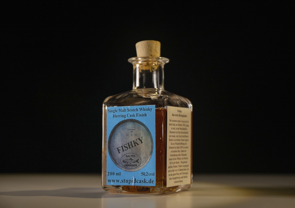 In this photo dated Tuesday, Aug. 25, 2020, made available by Disgusting Food Museum, showing a bottle of Fishky, whisky matured in a herring cask, on...