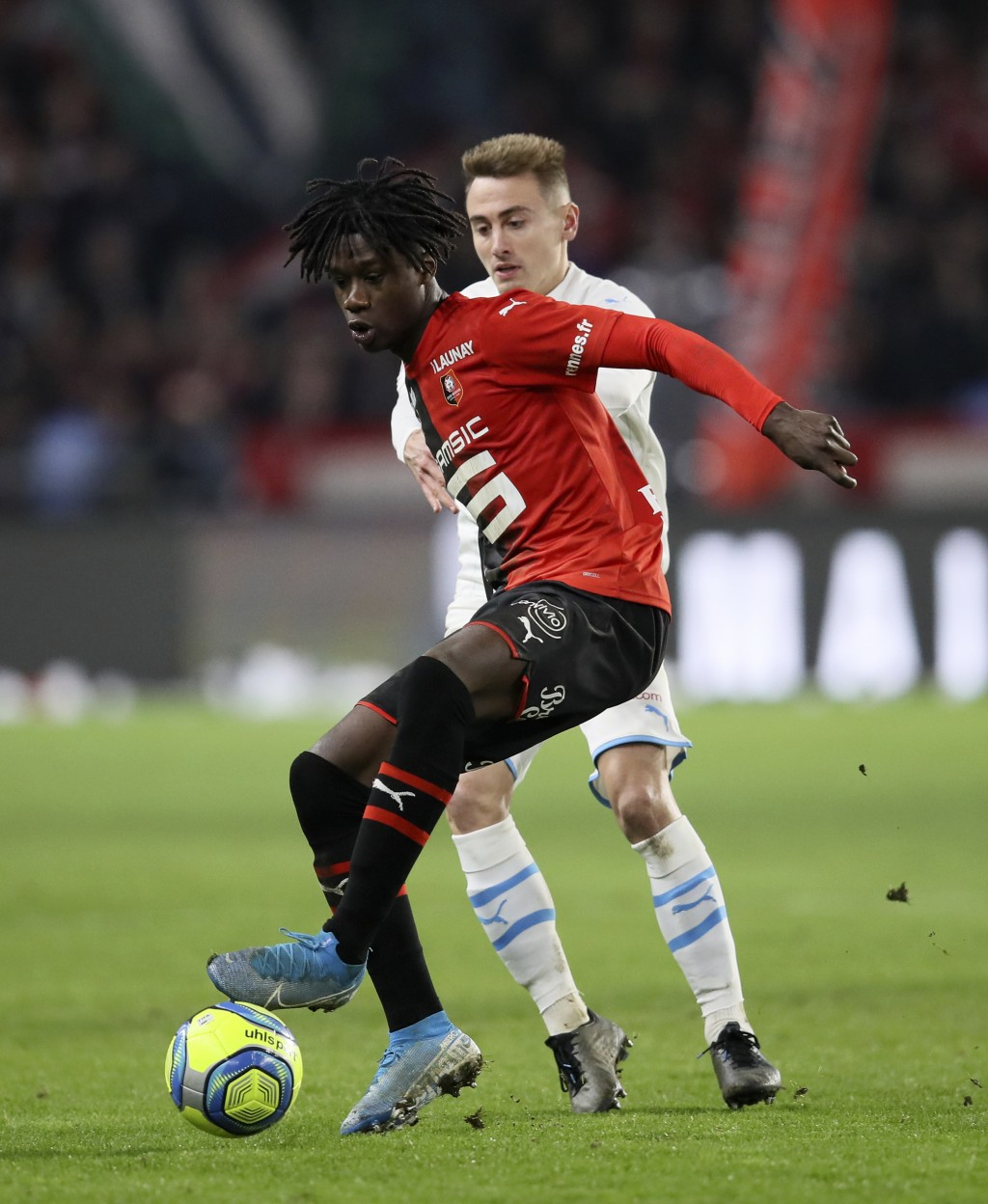 FILE - In this Friday, Jan. 10, 2020 file photo, Rennes' Eduardo Camavinga controls the ball during the League One soccer match between Rennes and Mar...