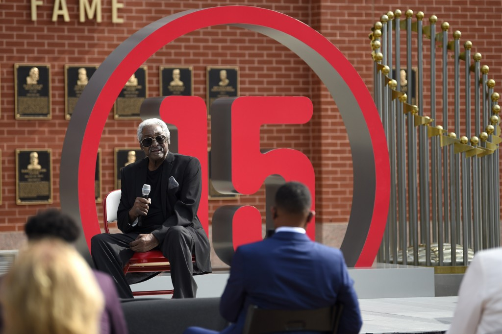 Former Philadelphia Phillies player Dick Allen speaks after the unveiling of his retired number prior to a baseball game between the Phillies and the ...