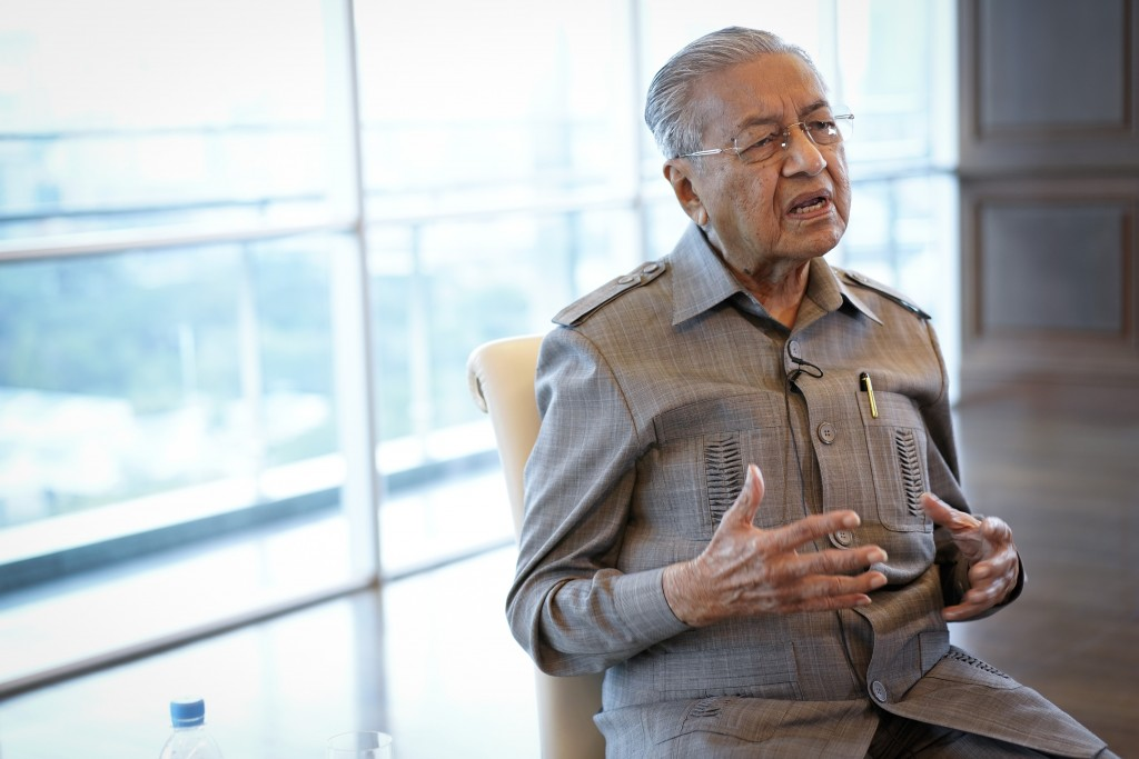 Former Prime Minister Mahathir Mohamad speaks during an interview with The Associated Press in Kuala Lumpur, Friday, Sept. 4, 2020. Mahathir said Frid...