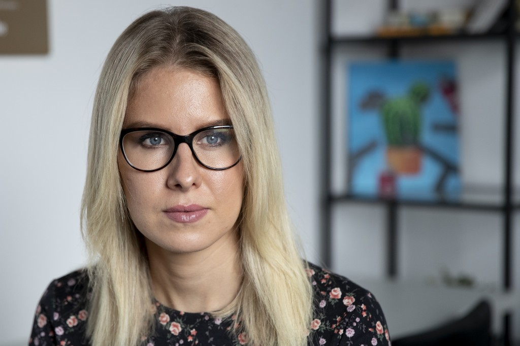 Russian opposition activist Lyubov Sobol speaks during an interview with The Associated Press in Moscow, Russia, Friday, Aug. 28, 2020. She is a close...