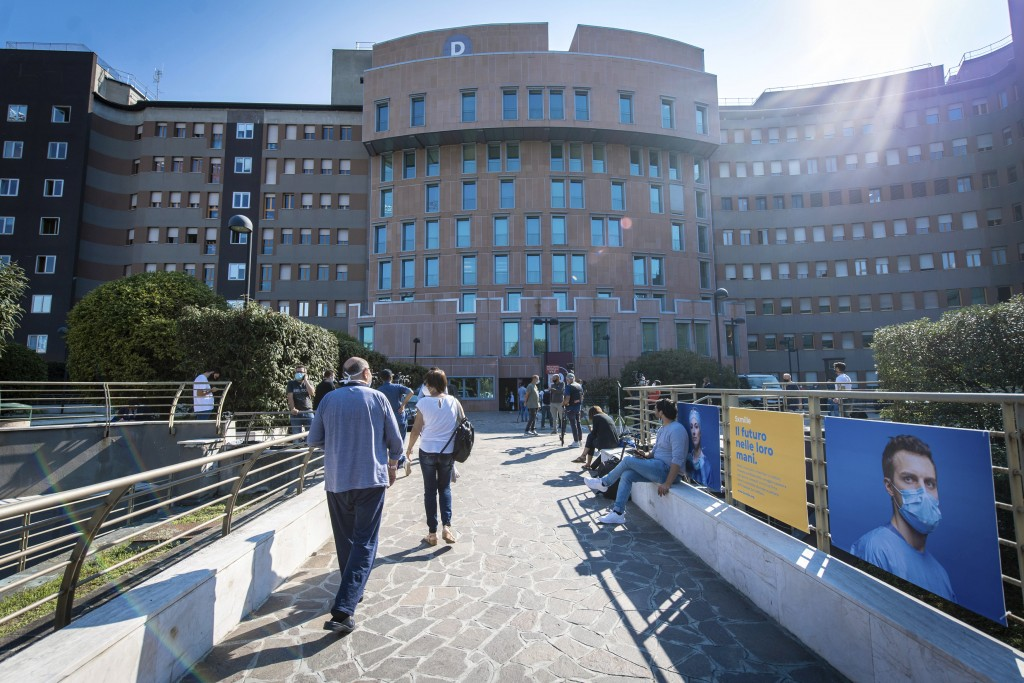A view of the San Raffaele hospital where former Italian premier Silvio Berlusconi is hospitalizied, in Milan, Italy, Friday, Sept. 4, 2020. Sen. Luci...