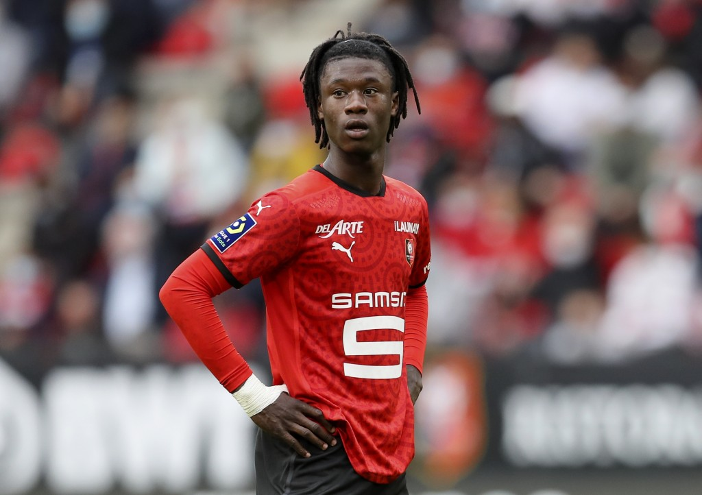 FILE - In this Saturday, Aug. 29, 2020 file photo, Rennes' Eduardo Camavinga looks on during the League One soccer match between Rennes and Montpellie...
