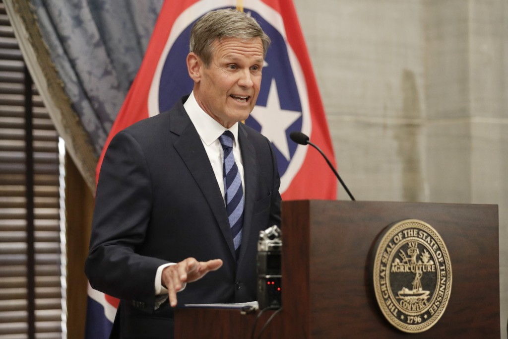 FILE - In this July 1, 2020, file photo, Tennessee Gov. Bill Lee answers questions during a news conference in Nashville, Tenn. Lee on Thursday, Sept....