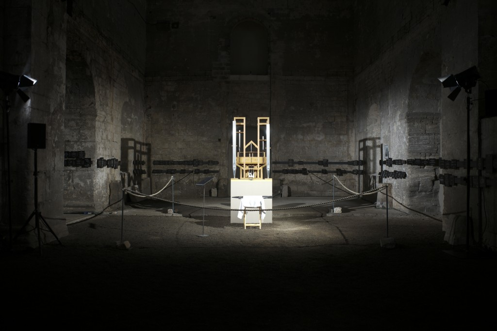 The organ of the John Cage organ project is illuminated prior to a 'sound change' at the partially ruined Buchardi Church in Halberstadt, Germany, Sat...