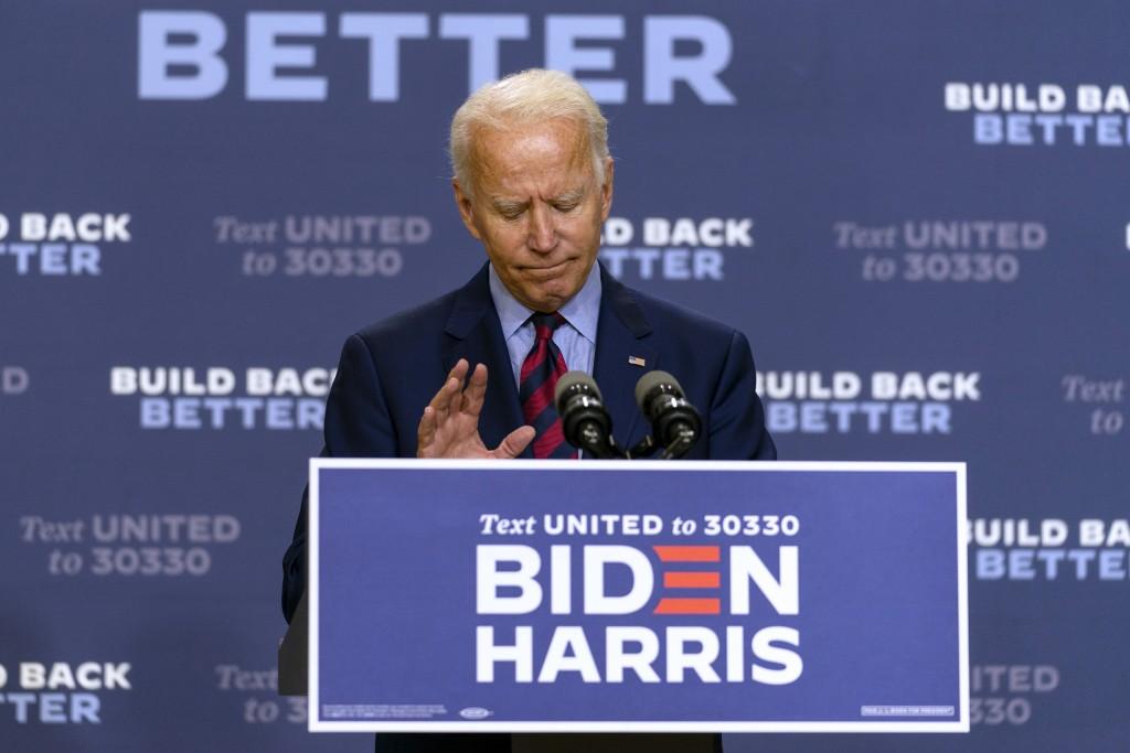 Democratic presidential candidate former Vice President Joe Biden pauses as he speaks in Wilmington, Del., Friday Sept. 4, 2020. (AP Photo/Carolyn Kas...