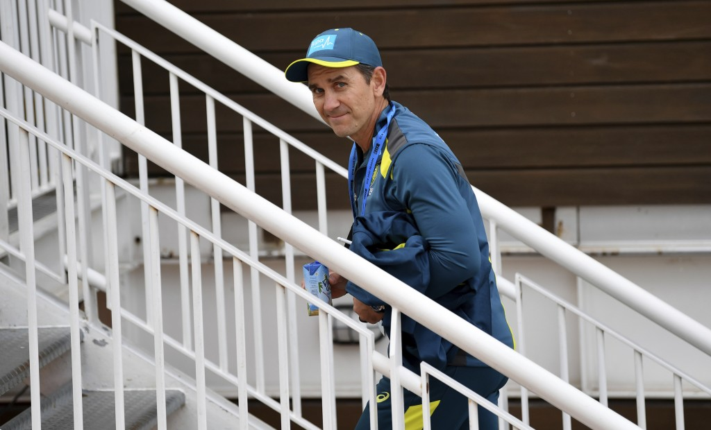 Australia's coach Justin Langer smiles ahead of the first Twenty20 cricket match between England and Australia, at the Ageas Bowl in Southampton, Engl...