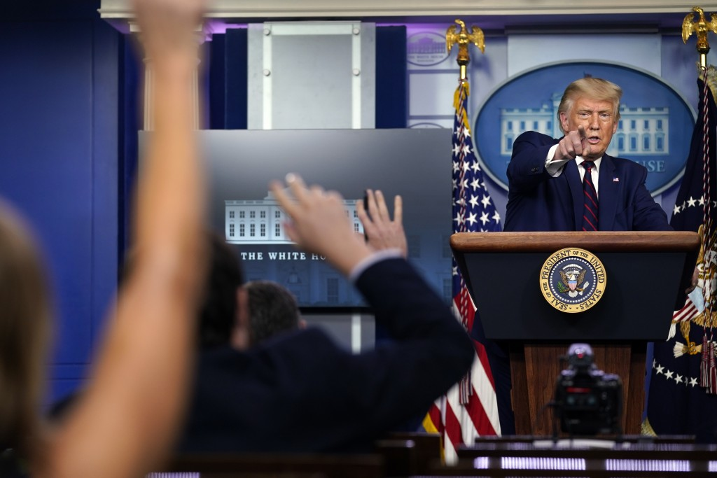 President Donald Trump takes questions as he speaks during a news conference in the James Brady Press Briefing Room at the White House, Friday, Sept. ...