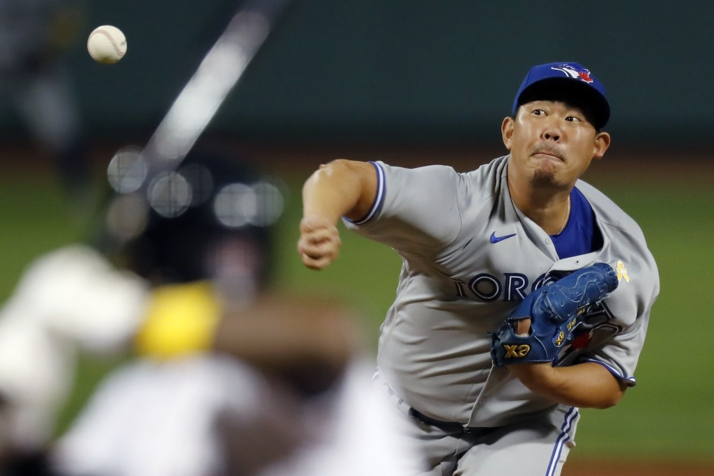 Toronto Blue Jays' Shun Yamaguchi pitches during the fifth inning of the team's baseball game against the Boston Red Sox, Saturday, Sept. 5, 2020, in ...