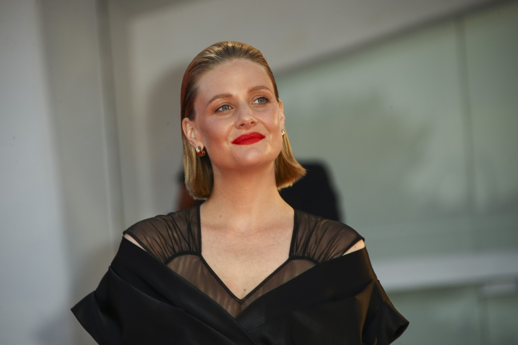 Actress Romola Garai poses for photographers upon arrival at the premiere of the film 'Miss Marx' during the 77th edition of the Venice Film Festival ...