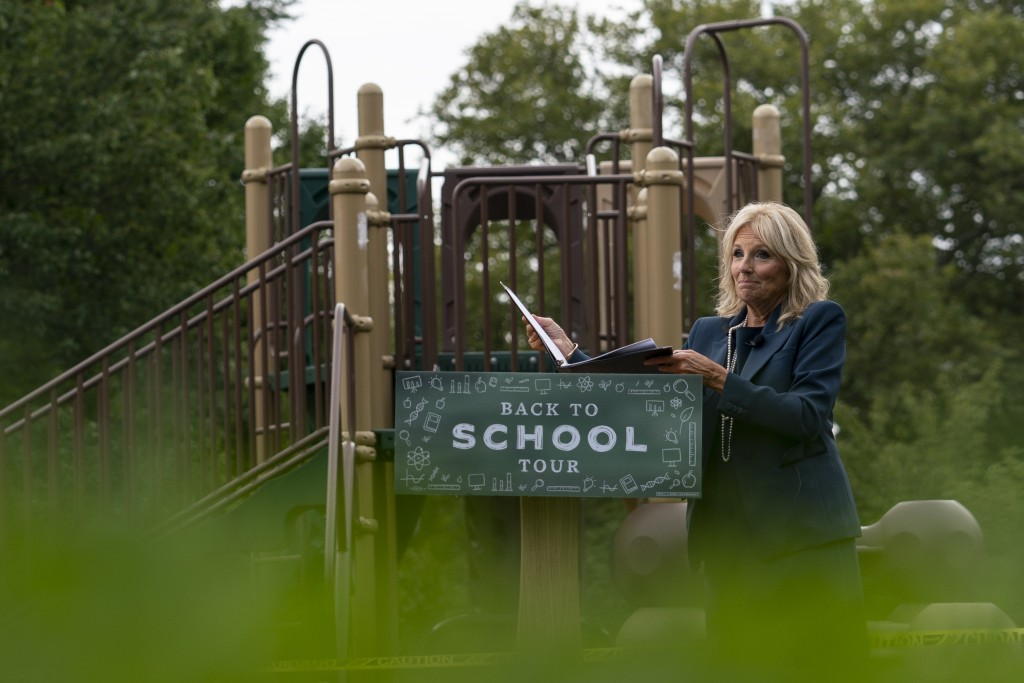 FILE - In this Sept. 1, 2020, file photo Jill Biden, wife of Democratic presidential candidate former Vice President Joe Biden, walks from a podium in...